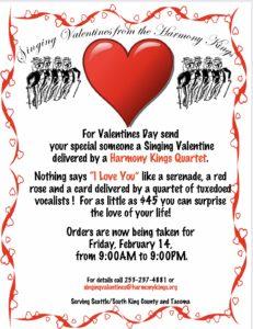 Call 253-237-4881 or email singingvalentines@harmonykings.org